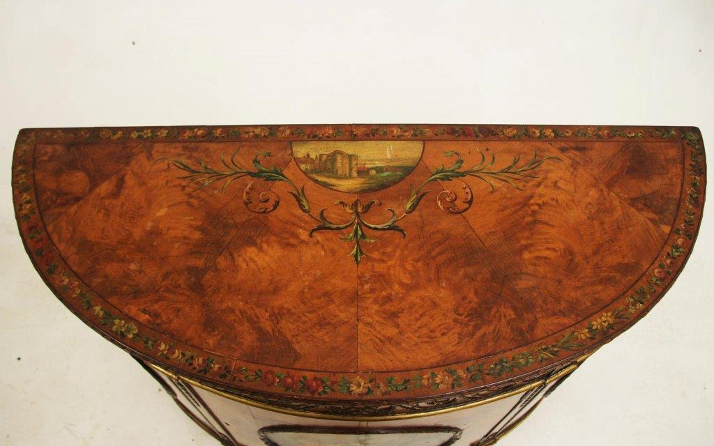 Important Pair of Adam Style Decorated Satinwood Demilune Commodes