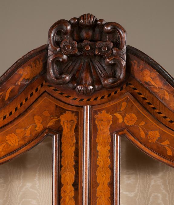 Exceptional Dutch Walnut Bonnet Top Display Cabinet