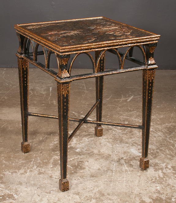 Black and Gold Chinoiserie Lacquered Center Table