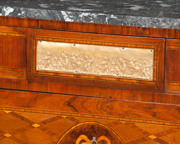 Louis XV Bronze Mounted Marble Top Walnut Commode