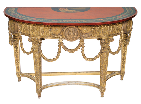 Decorated and Gold Leaf Louis XVI Demilune Console Table