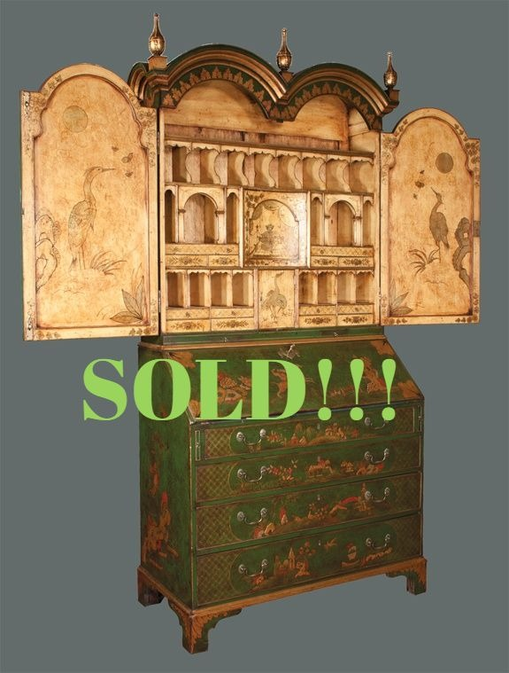 Queen Anne Style Chinoiserie Lacquered Bureau Bookcase  (SOLD)