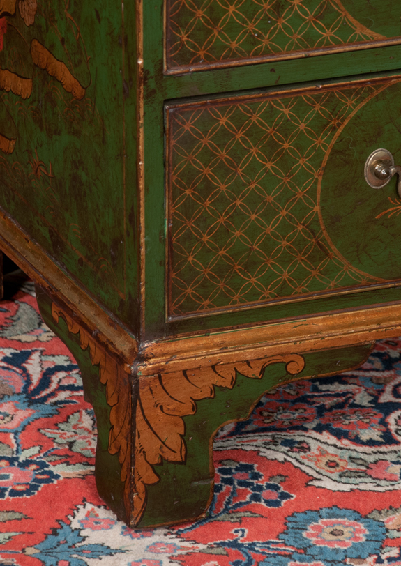 Queen Anne Style Chinoiserie Lacquered Bureau Bookcase
