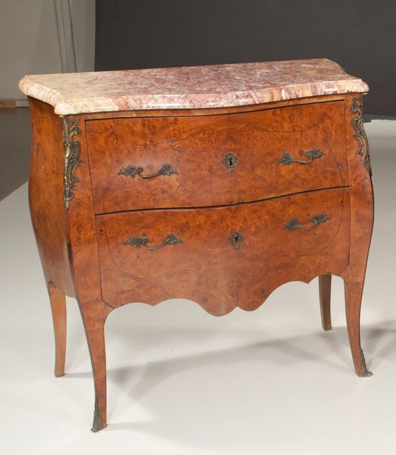 Pair of Louis XV Style Bronze Mounted Inlaid Two Drawer Commodes