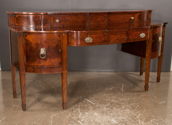 Inlaid Sheraton Mahogany Shaped Front Sideboard
