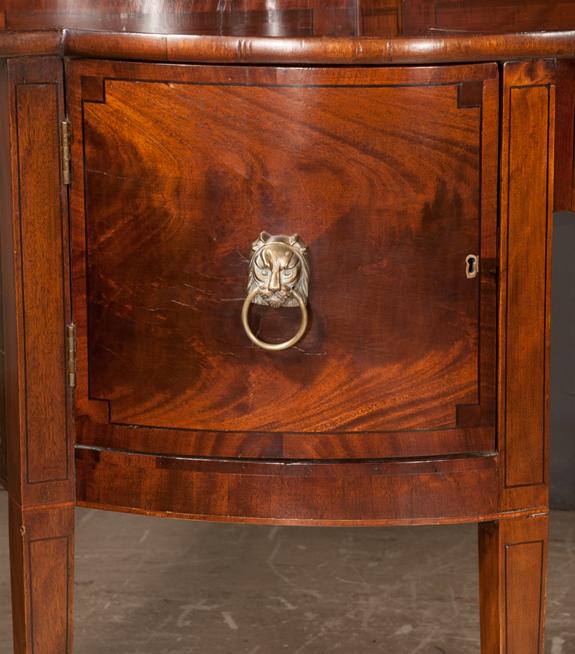 Inlaid Sheraton Mahogany Shaped Front Sideboard