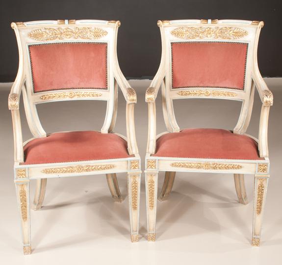 Pair of Italian Neo-Classical Armchairs