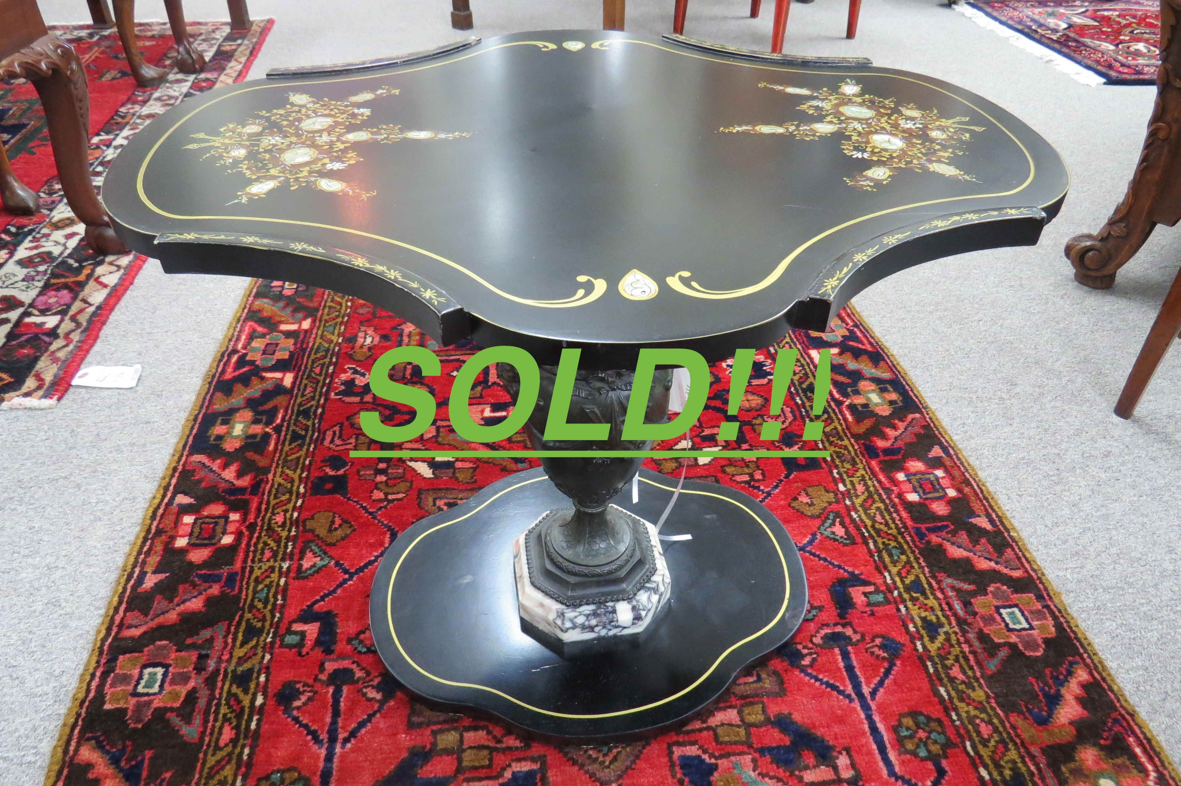 Shaped Cocktail Table with Black Lacquer and Mother of Pearl Inlay  (SOLD)