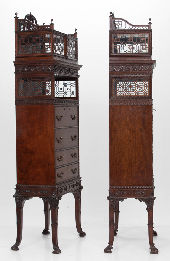 Important Pair of George III Style Three Part Cabinets