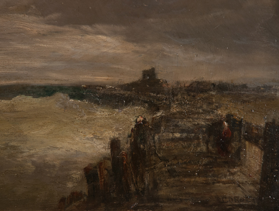 19th Century Oil Painting on Panel Ocean Scene