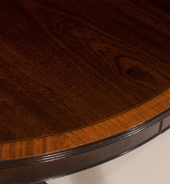 Two Pedestal Sheraton Style English Mahogany Dining Table  (SOLD)