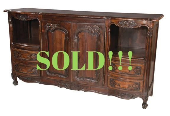 Country French Walnut Buffet with Parquetry Inlaid Top  (SOLD)