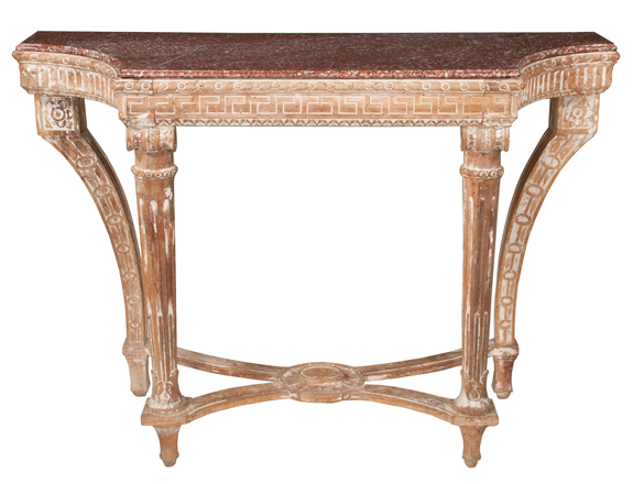 French Walnut Marble Top Console Table