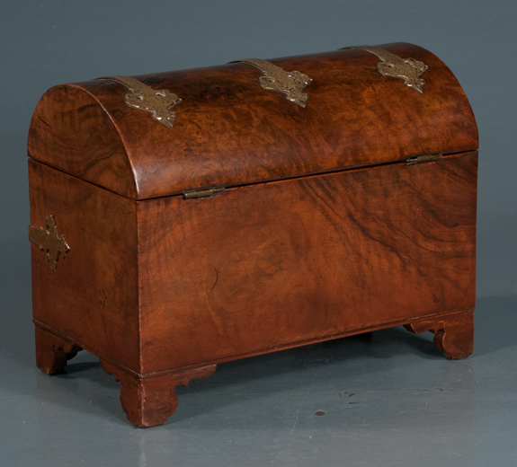 Sheraton Burl Walnut Dome Top Tea Caddy