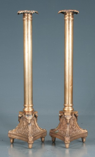 Pair of Cathedral Brass Candlesticks