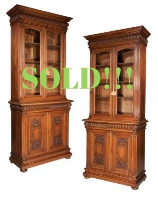 Pair of French Walnut Bookcase Cabinets  (SOLD)