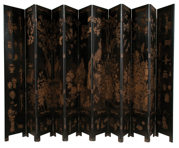 Chinese Black Lacquered 12 Panel Coromandel Screen