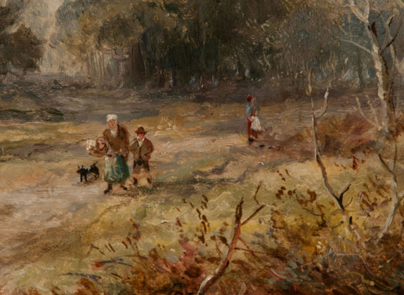 """Returning from Market"" - Oil on Canvas signed R. Hudson"