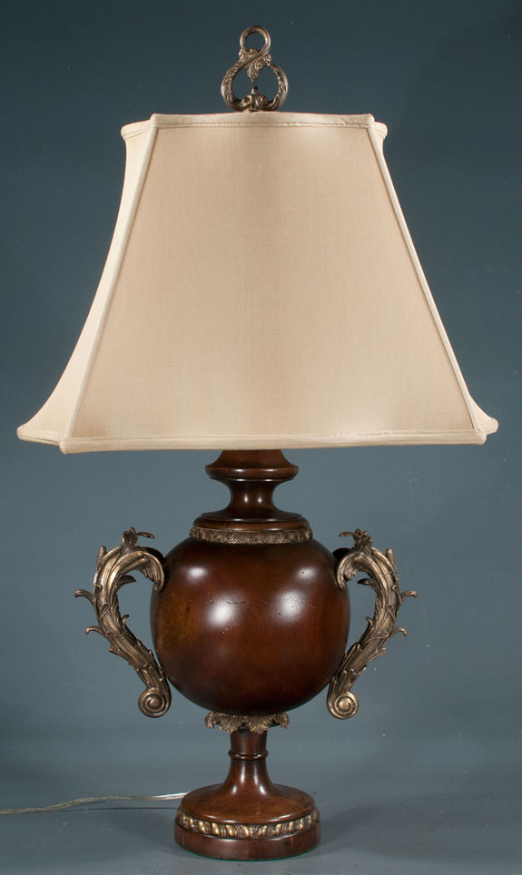 Mahogany Urn Shaped Lamp