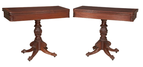 Pair of New York Regency Style Mahogany Card Tables