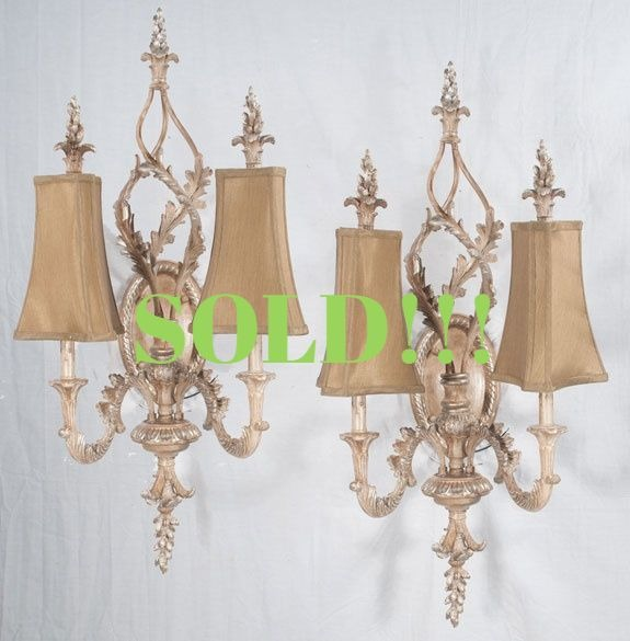 Pair of Louis XV Style Silver Gilt Sconces  (SOLD)