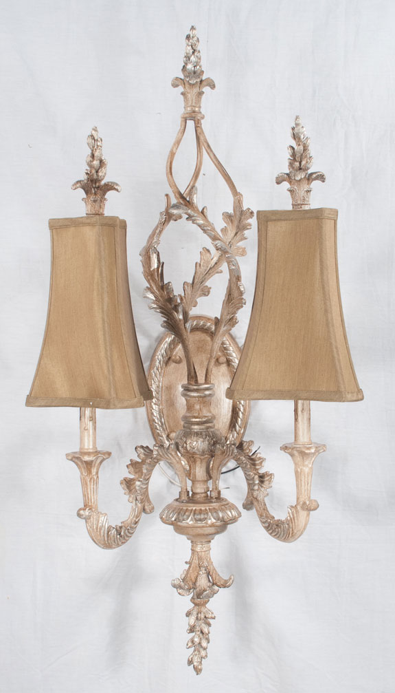 Pair of Louis XV Style Silver Gilt Sconces