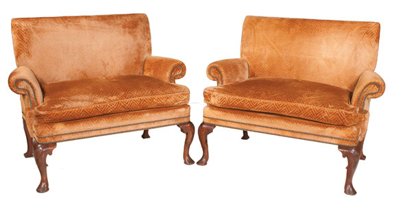 Pair of Queen Anne Style Mahogany Settees