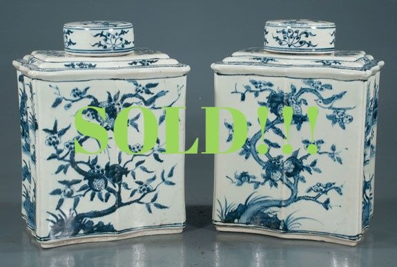 Pair of blue and white Chinese porcelain tea canister jars  (SOLD)