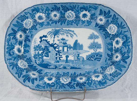 Blue & White English Ironstone Platter, c. 1880