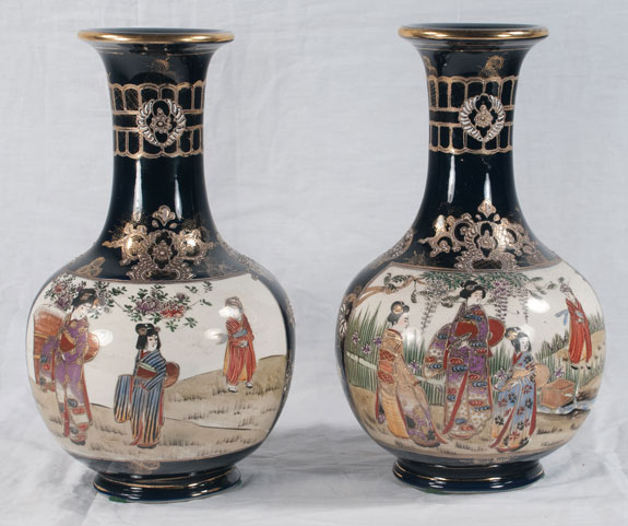 Pair of Satsuma Porcelain Vases