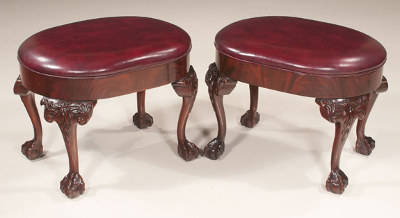 Pair of Chippendale Style Mahogany Oval Foot Stools
