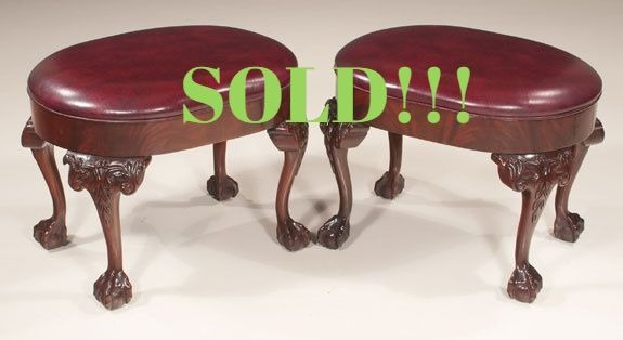 Pair of Chippendale Style Mahogany Oval Foot Stools  (SOLD)