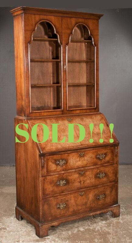 Queen Anne Style Walnut Bureau Bookcase  (SOLD)