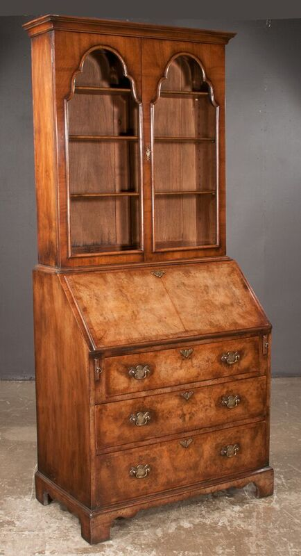 Queen Anne Style Walnut Bureau Bookcase