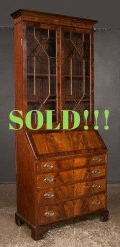 Chippendale Mahogany Bureau Bookcase with Mullion Glass Doors  (SOLD)