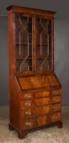 Chippendale Mahogany Bureau Bookcase with Mullion Glass Doors