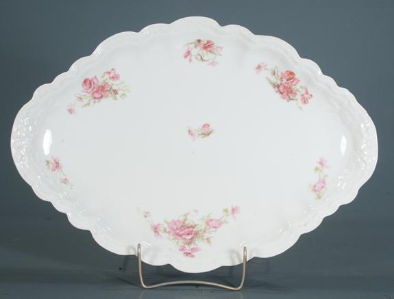 Oval Limoges Porcelain Platter with Floral Decoration