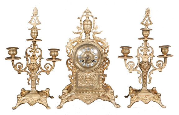 3 Piece Louis XV Style Mantle Clock with Pair of Candelabras