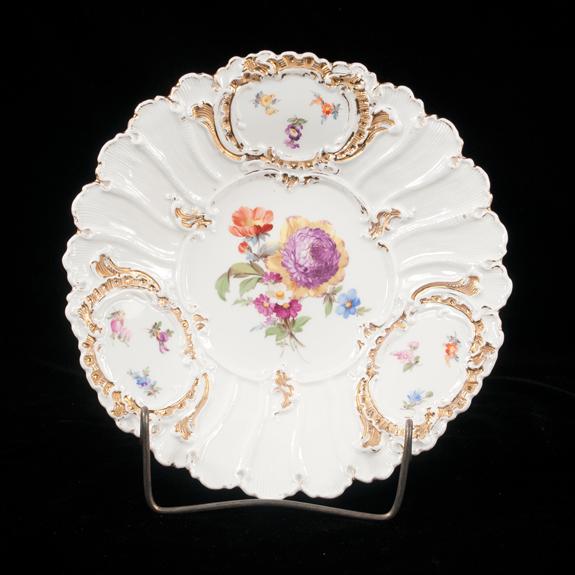 Meissen Porcelain Plate with Floral & Gold Gilt Decoration
