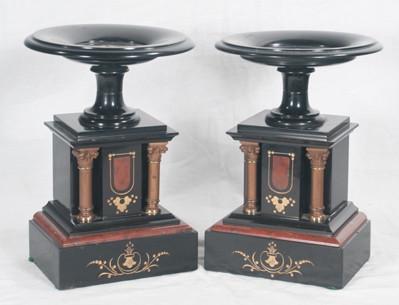 Pair of French Marble Cassolettes