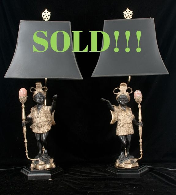 Pair of Bronze Court Figures Adapted as Lamps  (SOLD)