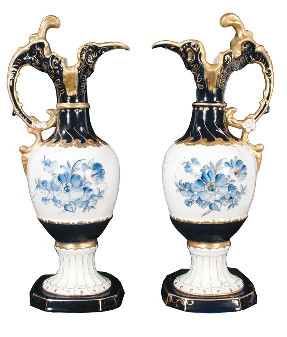 Pair of Royal Dux Porcelain Ewers