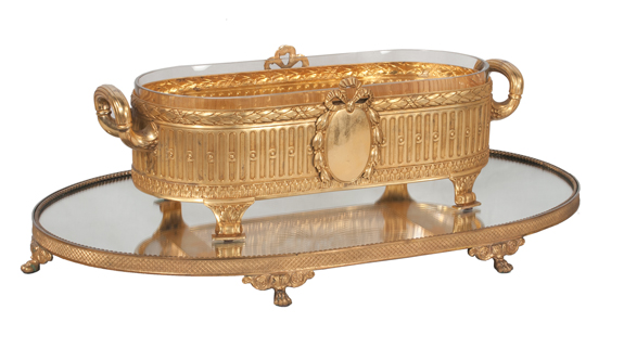 Louis XVI Style Oval Footed Planter & Mirrored Plateau