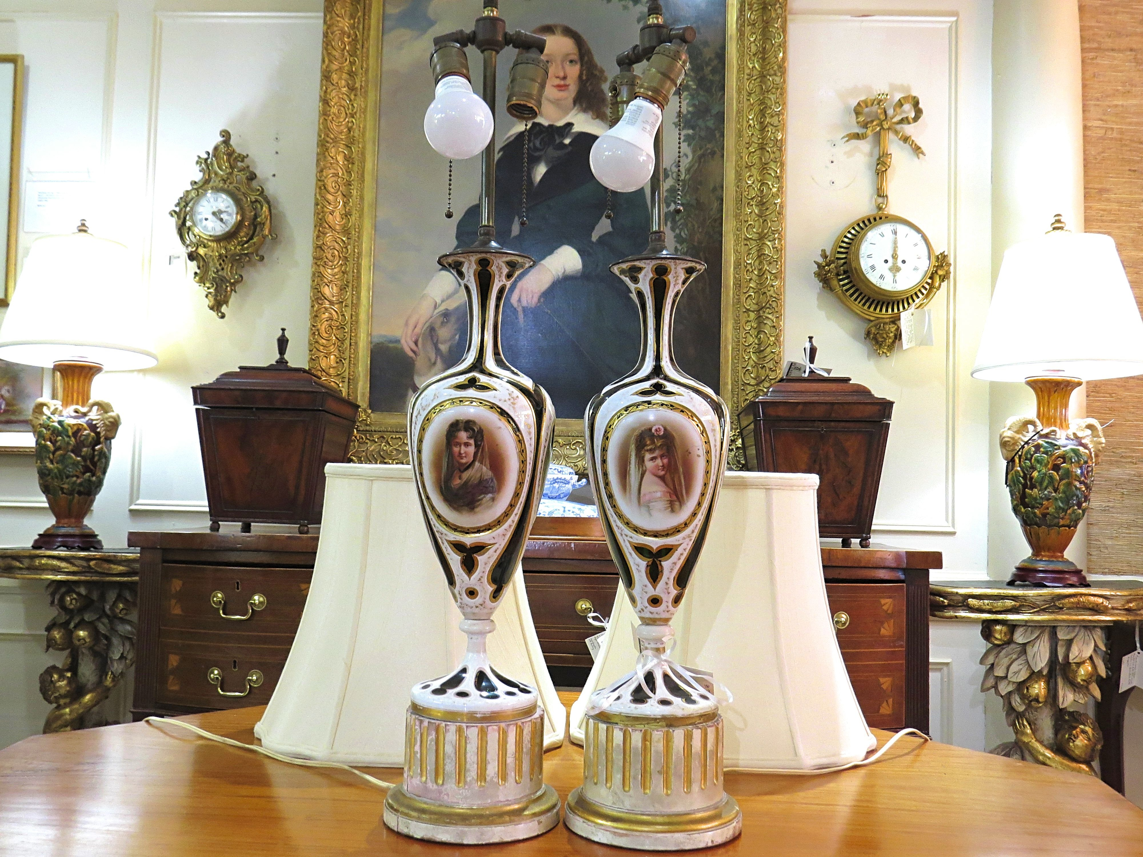 Pair of Spanish Porcelain Lamps with Female Portraits