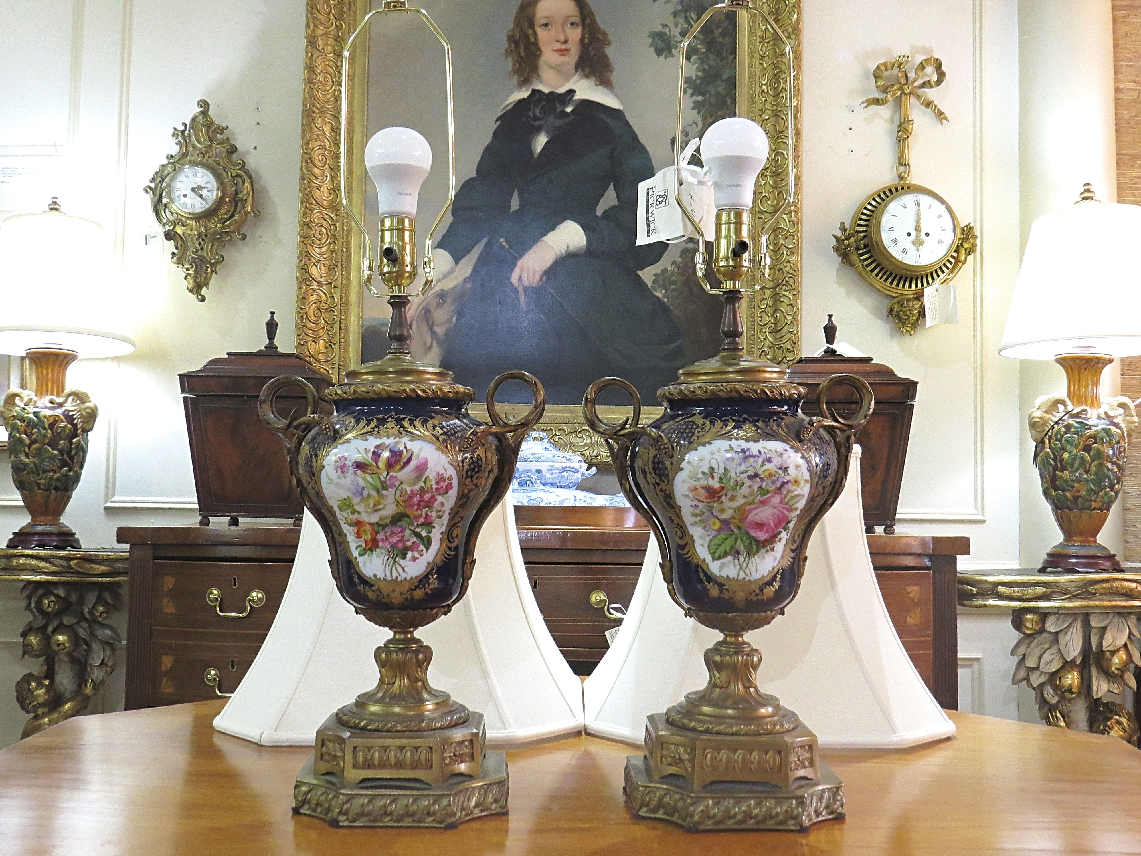 Pair of Cobalt Ground Sevres Style Porcelain Urn Lamps