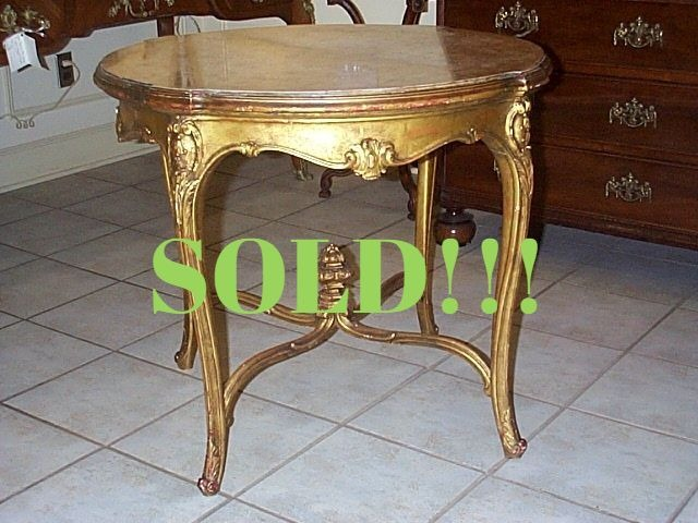 Louis XV Style Giltwood And Variegated Tan Marble Top Centre Table  (SOLD)
