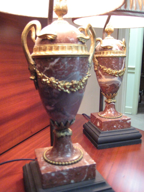 Pair Of Louis XVI Style Marble Lamps