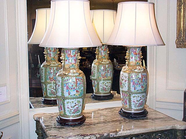Pair Of Rose Medallion Vases Mounted As Lamps
