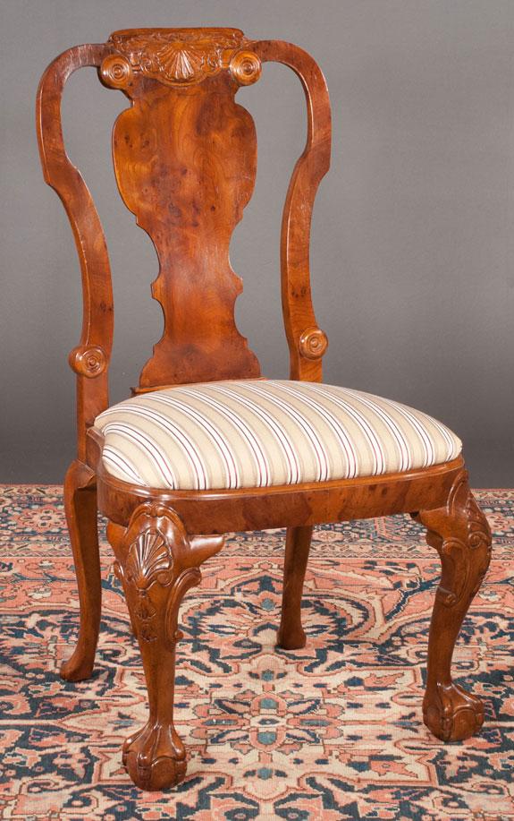 Set Of 12 Georgian Design Walnut Dining Chairs
