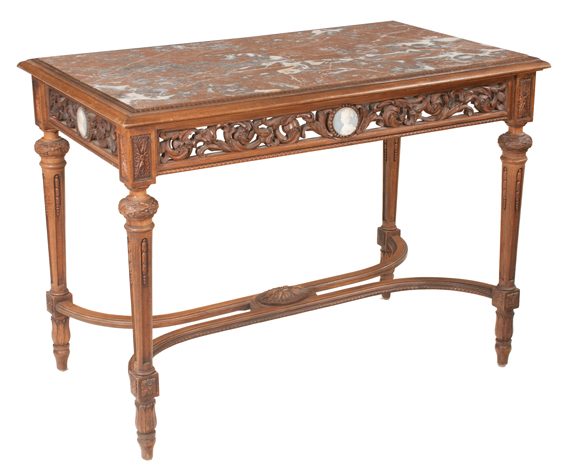 Louis XVI Style Walnut Marble Top Center Table with Wedgewood Plaques
